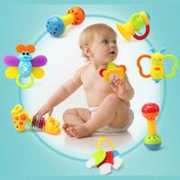 9PCs Baby Toy Set Rattle Teether Shaking bell with Nursing Bottle Educational Toys Rattle Accessories for Infants Toddlers Baby