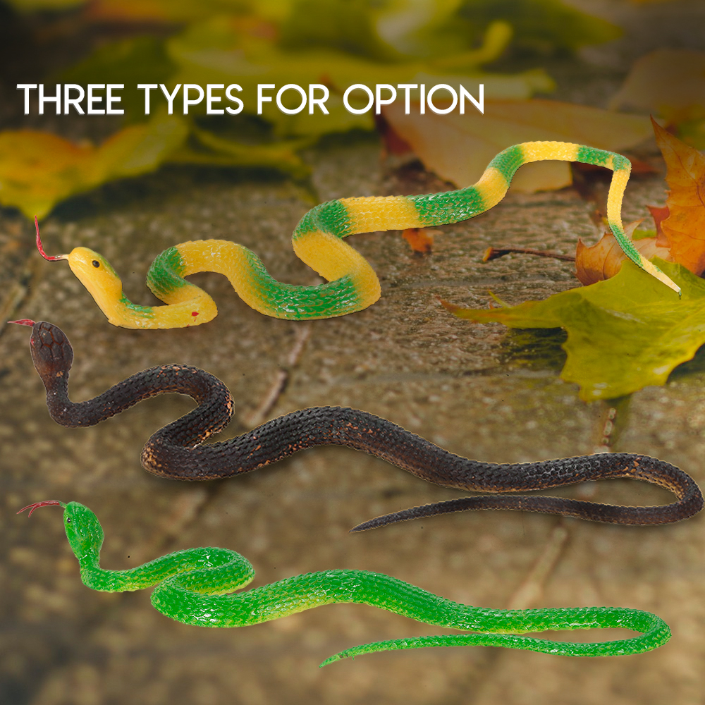 35CM Novelty Toy Simulation Black Rubber Snake Fake Snake Garden Props Tricky Funny Toy Performance Props