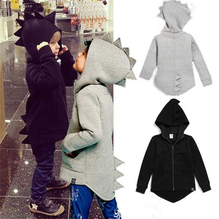 Pudcoco ใหม่ล่าสุดขาเข้าแจ็คเก็ตร้อนเด็กวัยหัดเดินเด็กหญิงแขนยาวไดโนเสาร์สัตว์ Lucky เด็กเสื้อแจ็คเก็ต Hooded Outerwear