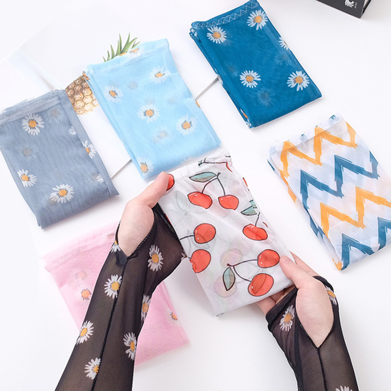 Fashion Ice Silk Daisy Arm Sleeves Women Colorful Transaprent Thin Long Sleeves Mesh Sun Protection Cycling Arm Warms Driving