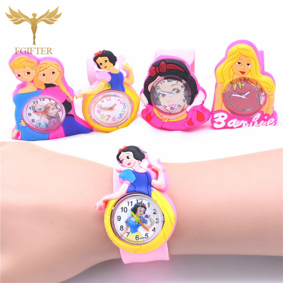Hot Girls Princess Watches Pink Rubber Cinderella Watch For Kids Girl Plastic Quartz Wristwatch Children's Gift