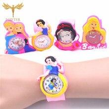 Hot Girls Princess Watches Pink Rubber Cinderella Watch for