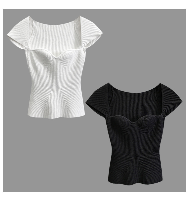Hbc90101feb6646d497e329dac6a0bf250 2020 New Women Summer Sexy Square Collar Knitted T Shirts Pure Color Women Short Sleeve Slim T Shirt s For Women White Tees