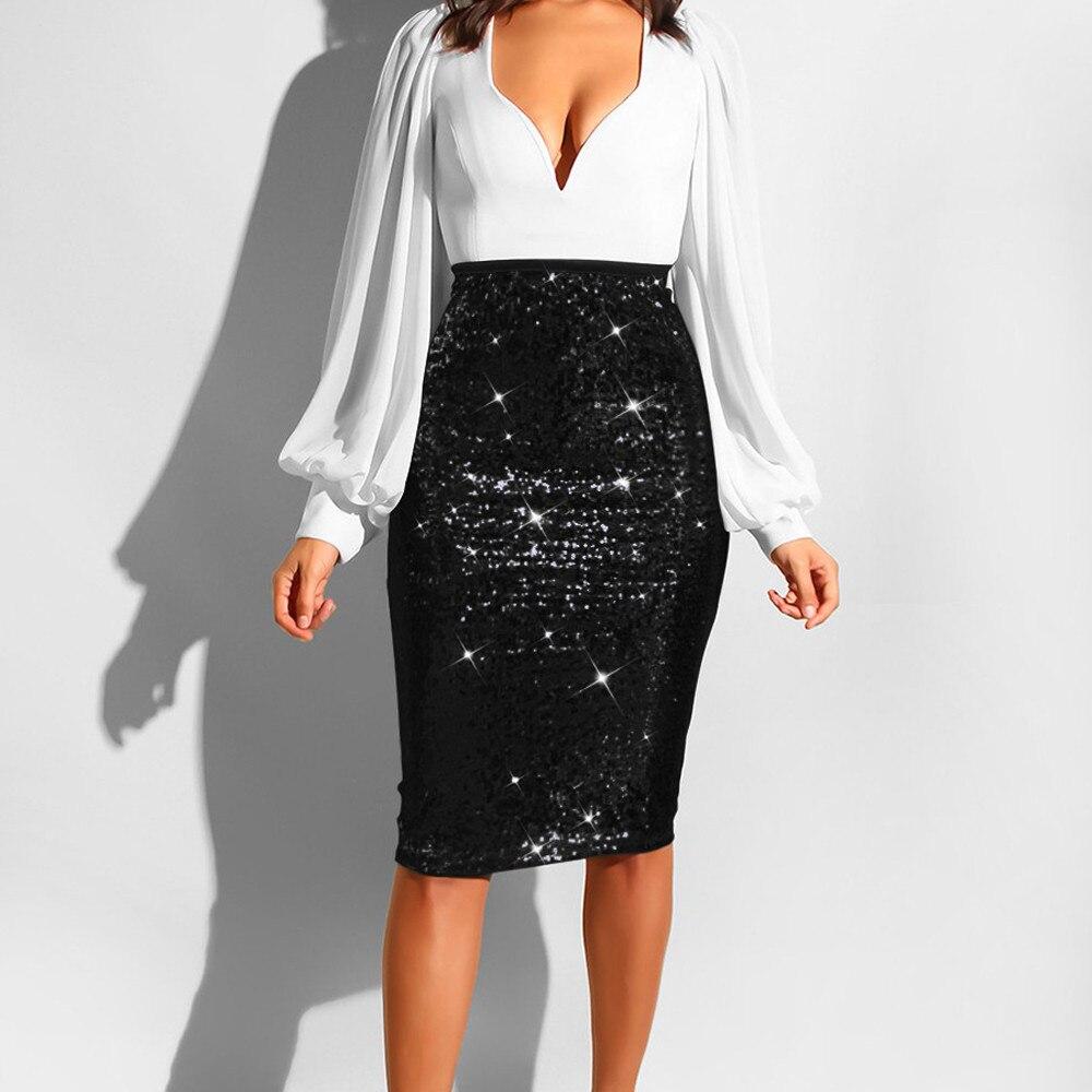 Women Black Skirts Fashion Party Skirts Solid Slim High Waist Push up Hip Pencil Zipper Sequin Skirt Узкие Юбки#20