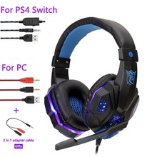 Professionele Bas Stereo Gamer Wired Hoofdtelefoon PS4 X Box Headset Met Led Licht Microfoon Voor Computer Laptop