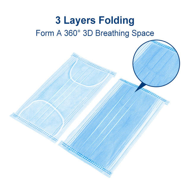 50PCS 3-Ply Surgical Mask Medical Mask Disposable Nonwoven Breathable Antiviral Anti Flu Hygiene Face Mouth Mask Respirator 2