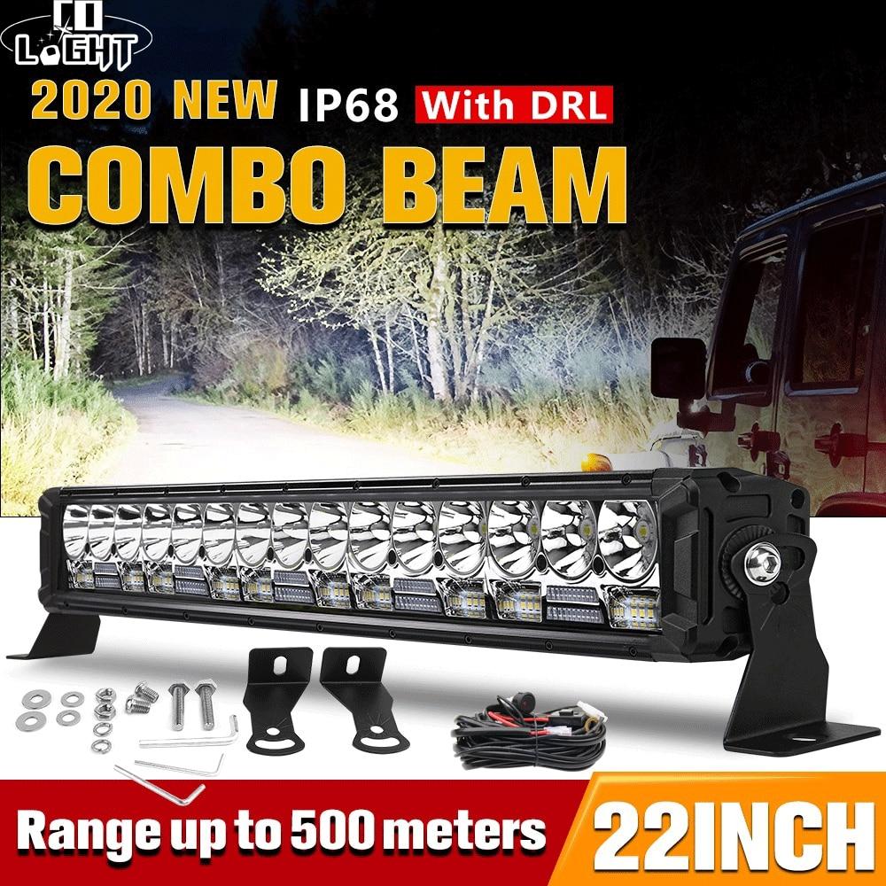 CO lumière 2020 nouvelle conception améliorée travail barre lumineuse LED 22 pouces 300W 42000LM Spot inondation Combo DRL barre de Led lumières pour bateau 4WD SUV