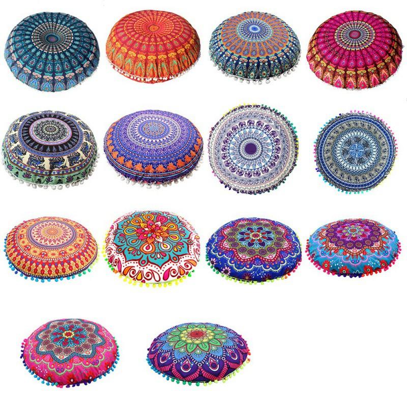 43*43CM Round Indian Mandala Pattern Pillowcase Bohemian Cushion Cover Boho Floor Cushion Pillows Cover Case