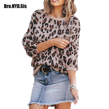 Office Lady Leopard Jacquard Women Sweater Crew Neck Pullovers Lantern Sleeve Woman Jumpers 2019 Winter Fashion Female Tops цены