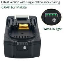 18V 6000mAh elektronarzędzia litowo-jonowe bateria do narzędzi makita 18V bateria 6ah BL1860 LXT400 BL1840 BL1830 akumulator batteria LED indicato