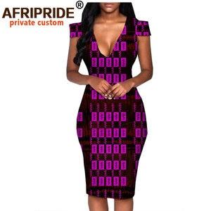 Image 2 - African summer dress for women AFRIPRIDE tailor made short sleeve knee length casual women pencil dress 100% cotton A1825074