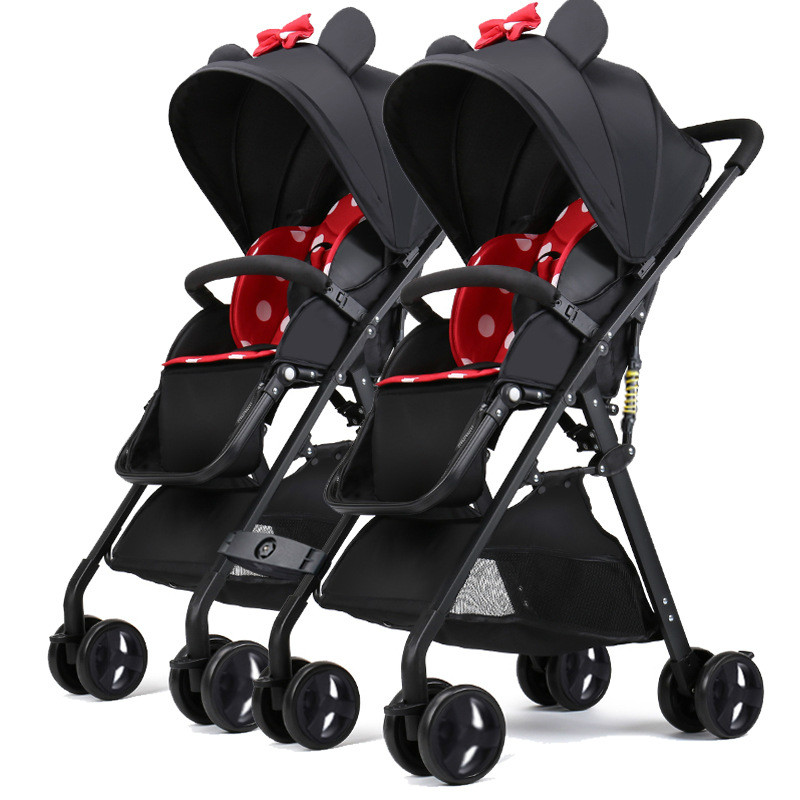 Twin Baby Stroller Stroller Can Sit Can Lying Stroller Folding Stroller Twin Detachable Stroller Foldable Dolly