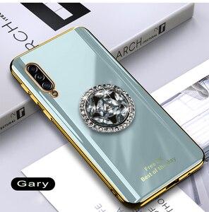 Image 4 - لامعة الماس البنصر تصفيح سيليكون قضية الهاتف لسامسونج غالاكسي A7 2018 A750 Coque رقيقة جدا لينة غطاء من البولي يوريثان