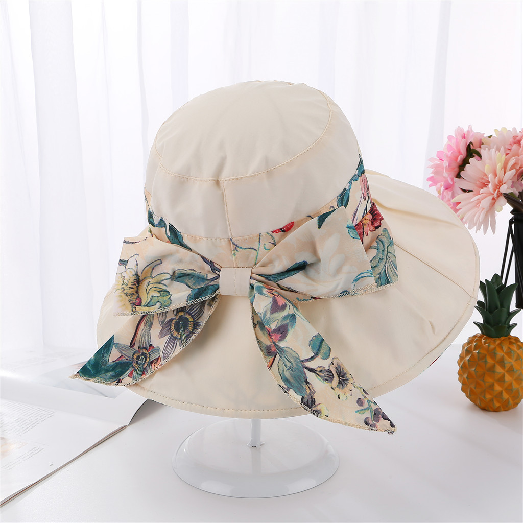 SAGACE Cotton Printed Foldable Cloth Cap Female Straps Bows Wild Big Hat 2019 New Fashion Sun Hats For Girls Wide Brim Floppy
