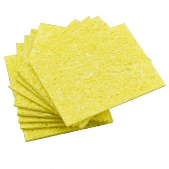 5/10pcs High Temperature Enduring Condense Electric Welding Soldering Iron Cleaning Sponge Yellow Kitchen image