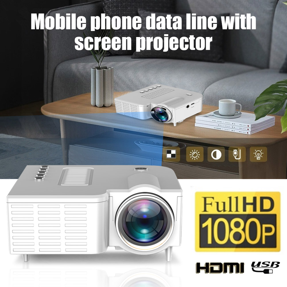 UNIC UC28CB 1080P Portable LED Projector Cinema Theater Mini Projector USB/SD/AV Input Mini Entertainment Projector image