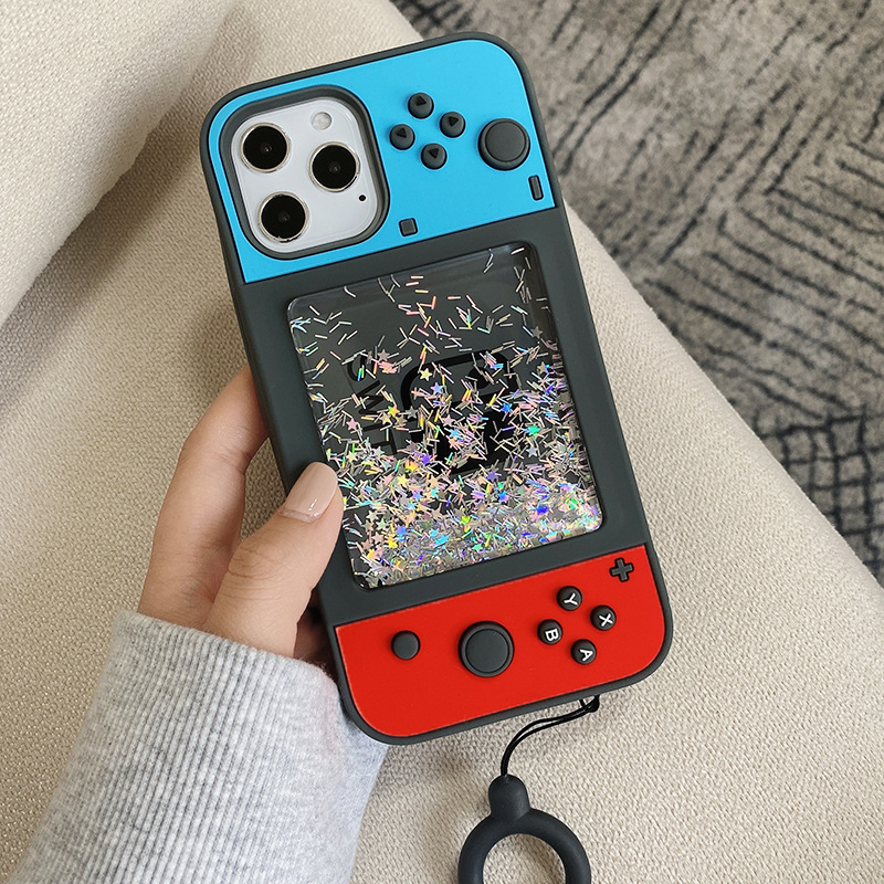 3D Switch Game Console Liquid Quicksand Phone Case For Iphone 12 Iphone 11 Pro 8 7 Plus X XR XS Max Soft Silicone Gamepad Cover