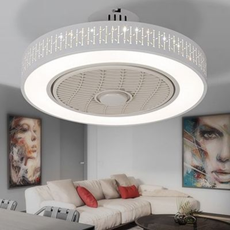 Modern minimalist white painted iron ceiling fan light crystal decorative acrylic LED lighting dimmable bedroom fan lamp - 5