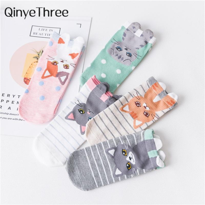 Cute Girls Cartoon Cat With 3D Claw Ankle Socks Lovely Kitten Stripes Dots Socks Stereoscopic Eared Sokken