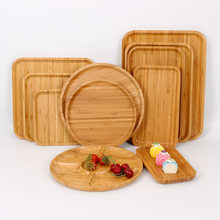 2021 New Plate Tray Wooden Bamboo Tray Household Wood Plate Japanese Dinner Plate Tea Tray Rectangular Tray Carving Plate