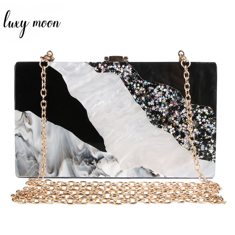 Clutch Bag For Women 2020 Ladies Hand Bag Marble Evening Bags Luxury Women Acrylic Clutch Purse Black White Party Purse Zd932