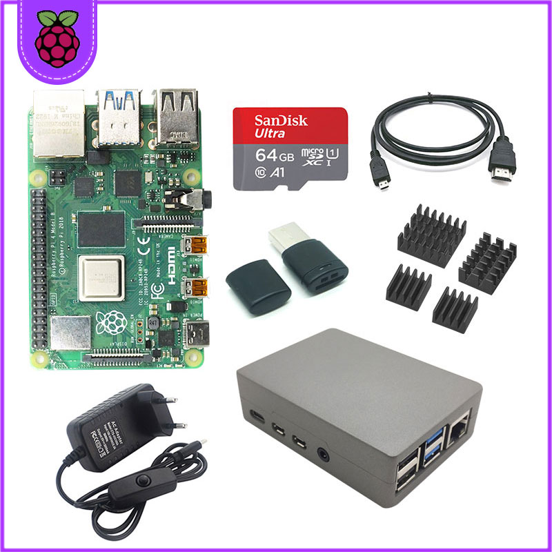 original Raspberry Pi 4 2GB 4GB RAM + 64GB memory card aluminum 3A adapter + Raspberry Pi 4 Aluminum alloy metal case