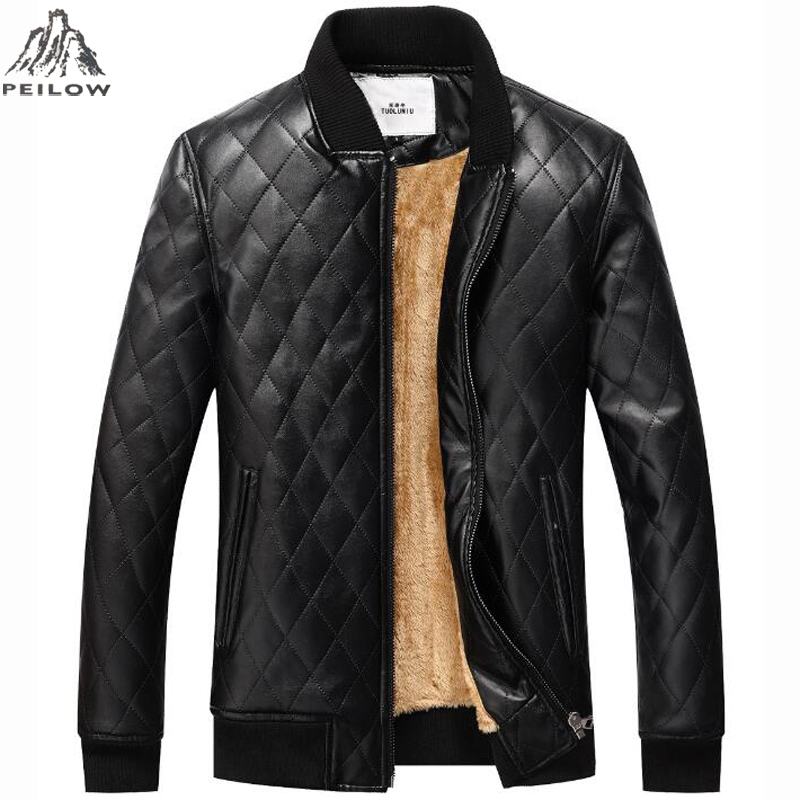 PEILOW New Winter Jacket Men High Quality Motorcycle Leather Jackets Warm Fleece Plaid Parka Men Pu Leather Coat USA Size S~XXL