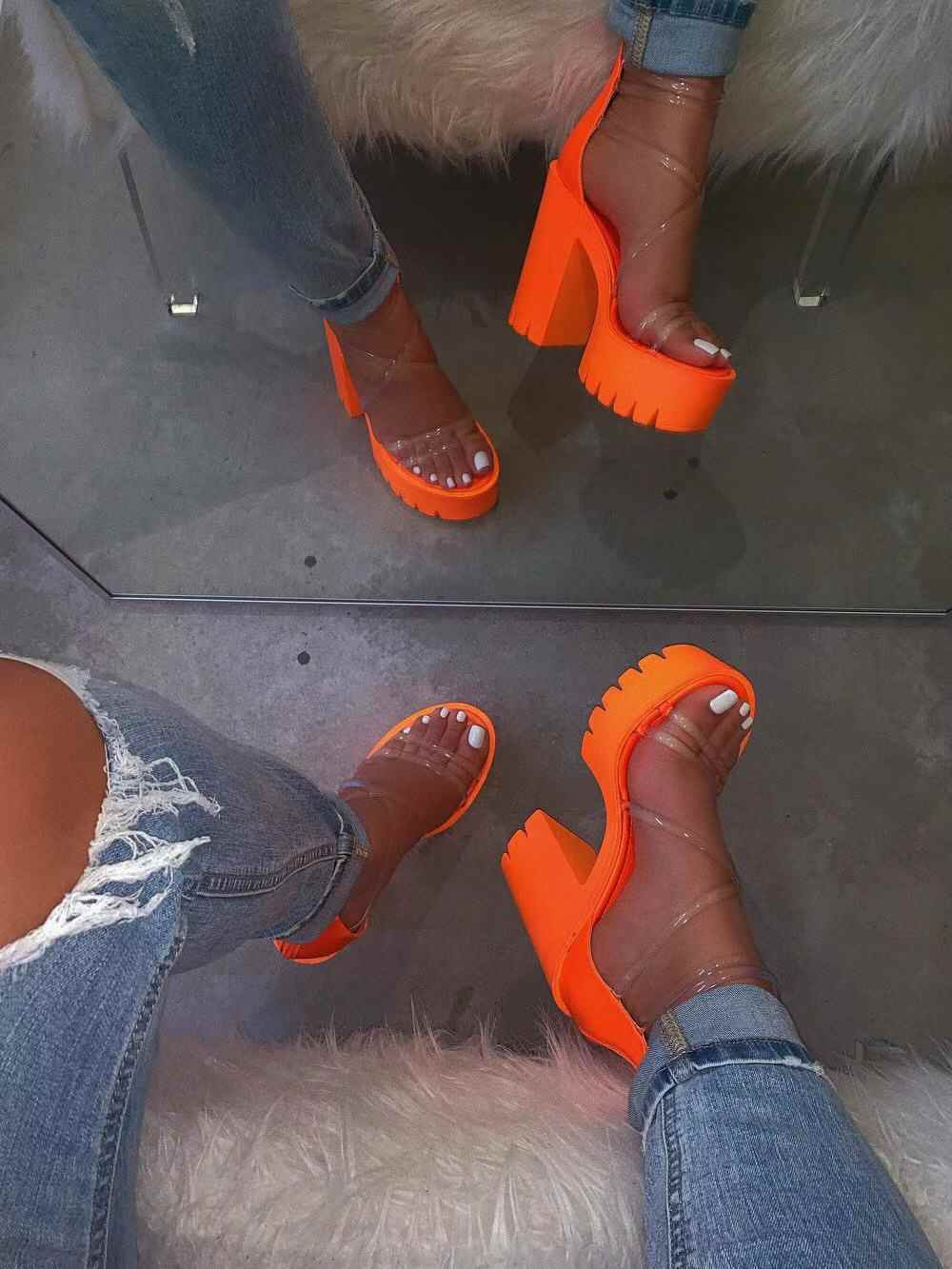 2020 nuevos zapatos de mujer de tacón alto Sexy tacones cuadrados bombas vestido de fiesta zapatos de mujer Peep toe transparente zapato casual Mujer