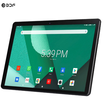 Nowy Tablet Pc 10 1 cala Android 9 0 tablety Octa Core Google Play 3g 4g LTE połączenie telefoniczne GPS wi-fi Bluetooth szkło hartowane 10 cali tanie i dobre opinie 10 1 CN (pochodzenie) ultra cienkie Z dwiema kamerami Gniazdo słuchawkowe Karty tf TYPE-C 32GB Ramię english HEBRAJSKI