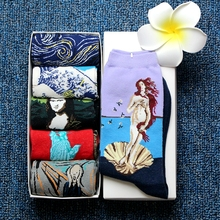 5 Pairs/lot Retro Painting Art Funny Socks Women Happy Cotton Van Gogh Oil World Famous Crew Sock Couple S