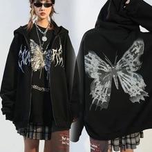Dark Butterfly Print Hoodies Women Punk Loose Zip Up Jacket Coat Autumn Hip Hop Hoody Y2K Harajuku Couple Streetwear