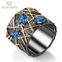 GICA GEMA Природные Лондон Голубой топаз кольца для женщин Свадебное, на помолвку, заявление драгоценных камней ювелирные изделия 925 стерлингов...