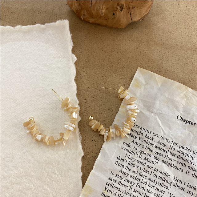 2020 rétro corée naturel irrégulière coquille boucles doreilles en forme de C créatif boucles doreilles pour femme esthétique accessoire bijoux