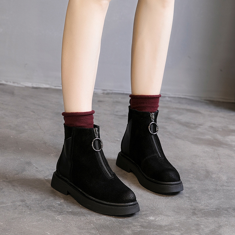 Fashion Ladies Booties New Autumn and Winter Ladies Single Boots Front Zipper Women's Boots Round Head Plus Velvet Martin Boots