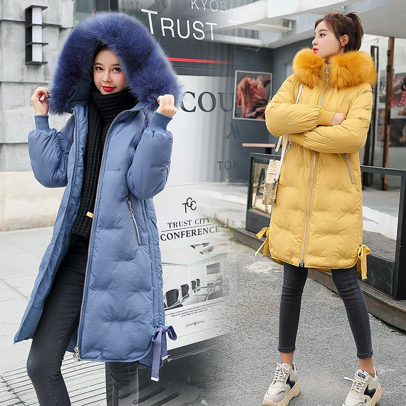 2019 Winter Jacket Women Fur Hooded   Parka   Long Coats embroidery Cotton Padded Winter Coat Women Warm Thicken Jaqueta Feminina