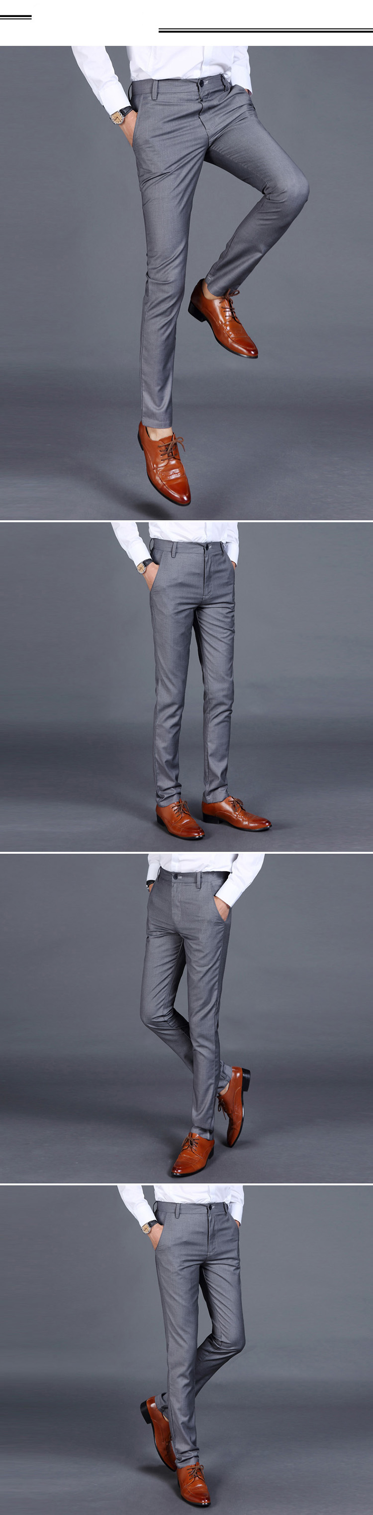 Hbc91bba8ecf1450c8e86b7d55f35cd7eu HCXY 2019 Summer Men's Smart Casual Pants Men Slim Straight Suit Pants Male Trousers Thin Smooth fabric Solid classic trousers
