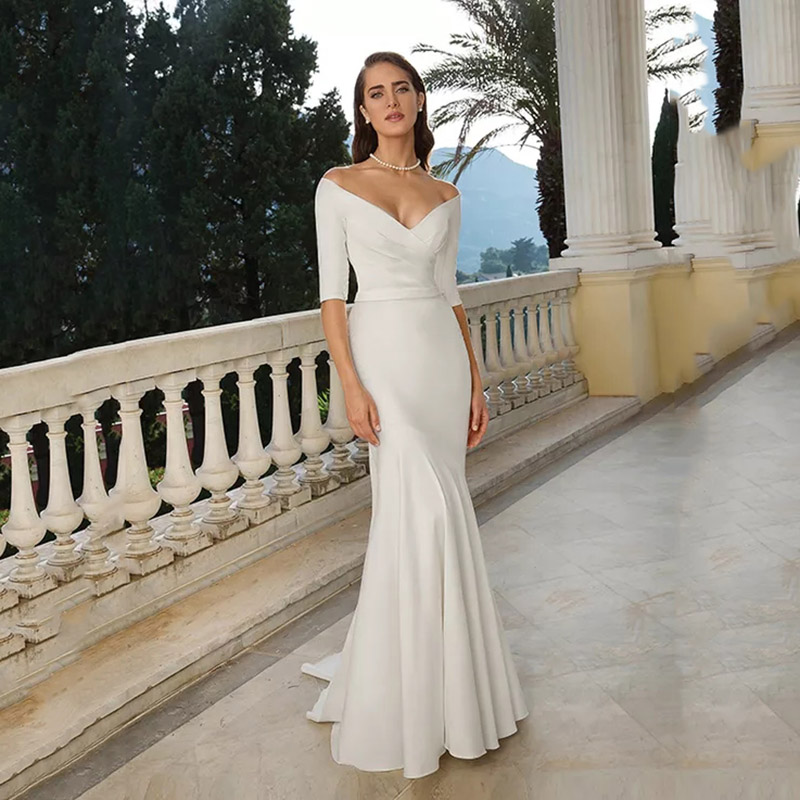Eightree V Neck Off The Shoulder Mermaid Wedding Dress 2019 Ivory/White Half Sleeves Bride Long Dress Chapel Train  Trumpet Gown