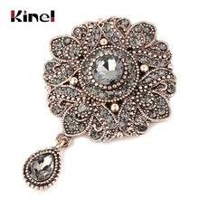 Kinel винтажная серая брошь в форме цветка с кристаллами Турецкая