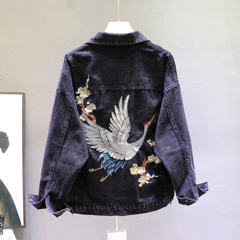 2020 Spring Loose-Fit Denim Jacket Handsome Boyfriend Wind Heavy Embroidery Small Crane Fashionable Black Jacket Women's Coat