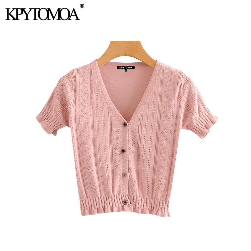 KPYTOMOA Women 2020 Sweet Fashion Ruffles Cropped Knitted Cardigan Sweater Vintage V Neck Short Sleeve Female Outwear Chic Tops