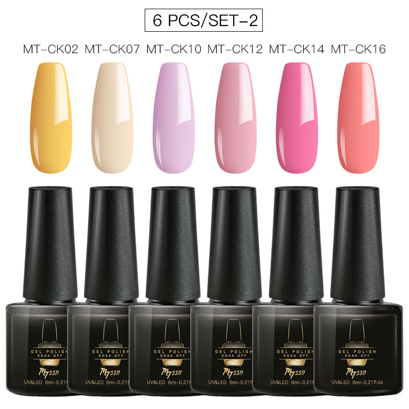 Mtssii 2/4/6PCS/LOT Glitter Nail Gel Polish Set Rose Pink Hybrid Color Series Semi Permanent Led Nail Lacquer Set Sequins Gel