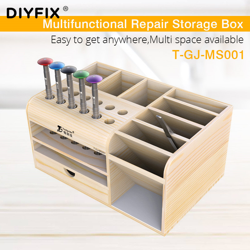 Screwdriver Tweezers Holder Electronic Components Multifunction Storage Box Desk Storage Practical Phone Tool Parts Deposit Box