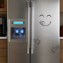 PVC refrigerator smiley toast cups funny stickers cabinet door personalized creative kitchen wall