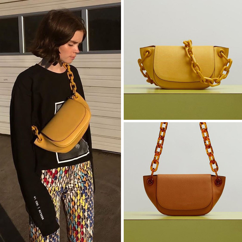 Retro Pure Color Acrylic Chain Dumpling Bags Chest Bags Casual Shoulder Crossbody Bag  Womans Handbag Designers 2020 Party Purse