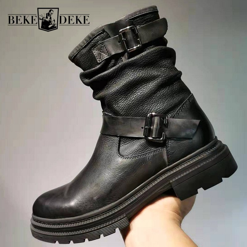 Retro Winter British Genuine Leather Mens Mid Calf Boots Belt Buckle Zipper Round Toe Thick Bottom Male Safety High Top Boots