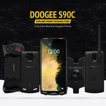 IP68 DOOGEE S90C Modular Rugged Mobile Phone 6.18inch Display 12V2A 5050mAh Helio P70 Octa Core 4GB 64GB 16MP+8MP Android 9.0