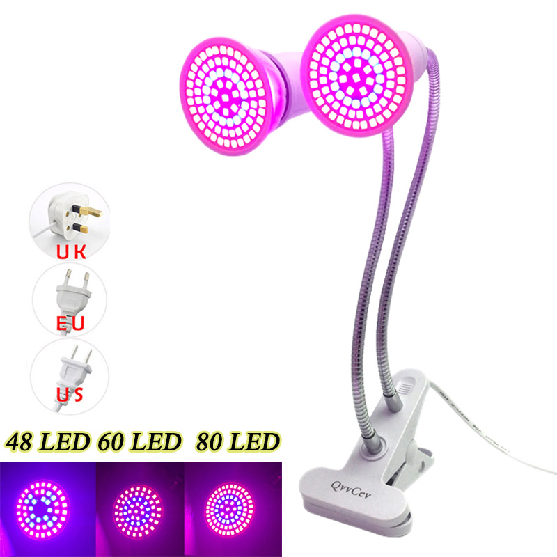 48/60/80 LED 220V Plant Grow Light For Home Greenhouse Flower Growing Bulb Lamp Hydroponics Plants Lights With Desk Clip Holder