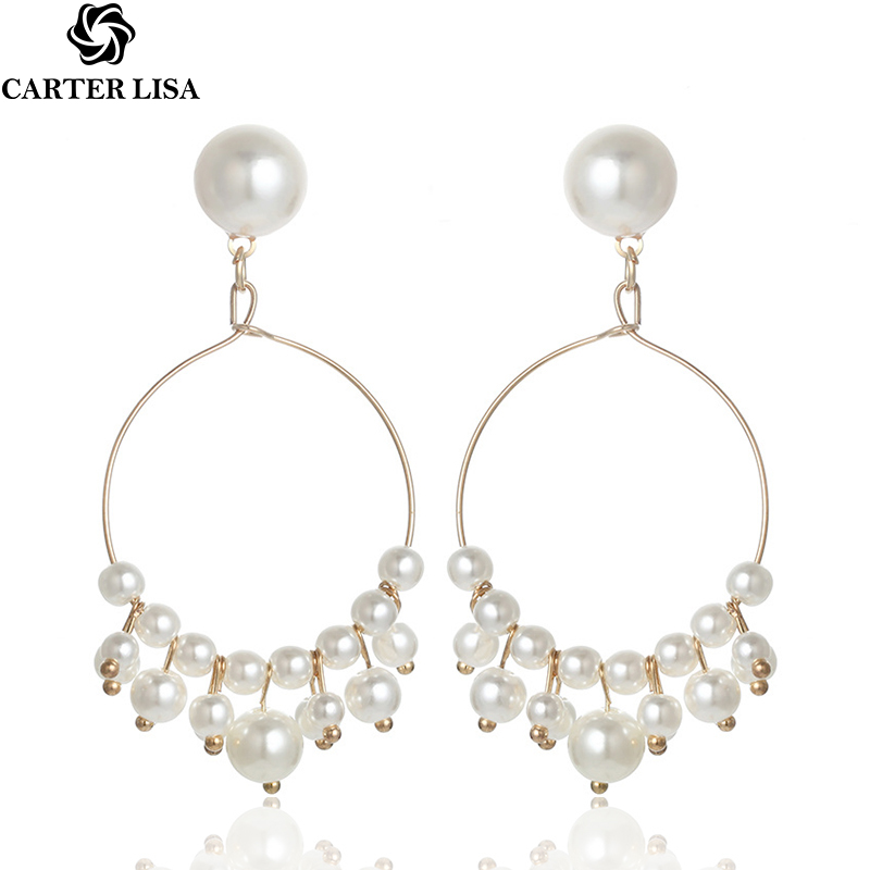 CARTER LISA Hot Korean Fashion Statement Gold Circle Cute Pearl Fringe Dangle Drop Earrings For Women Jewelry HLEZ213000