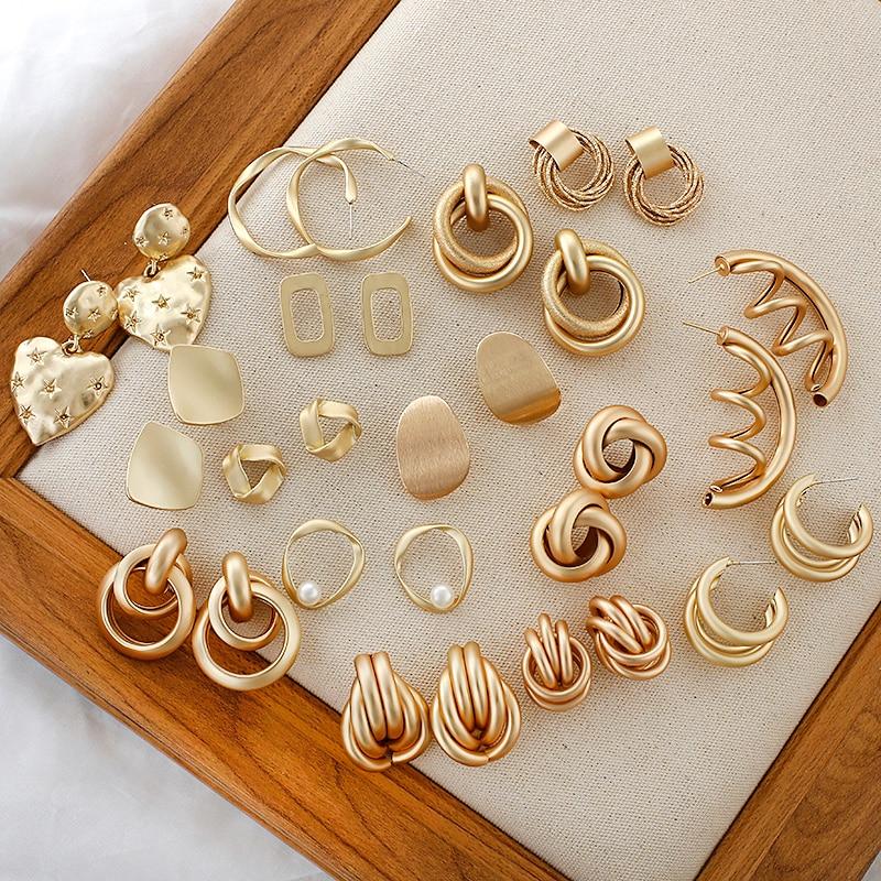 AENSOA Fashion Metal Statement Earrings 2020 Gold Color Geometric Earrings For Women Hanging Dangle Earring Earring  Jewelry