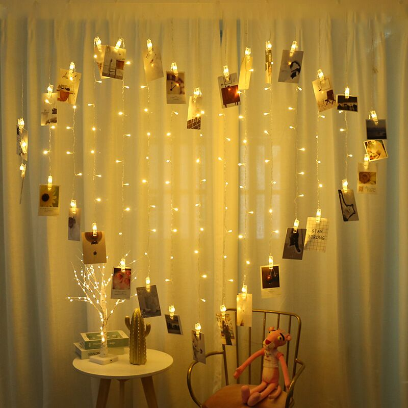 AC220V 2x1.5m Heart Shape 128 LED Icicle Curtain String Light Clips Photo Garland Lamp Light For Holiday Christmas Wedding Party